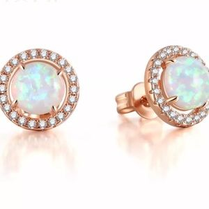 Rose Gold Round White Opal Halo Stud Earrings